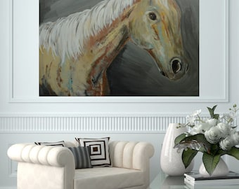 READY TO SHIP: 30x24 Large Horse Head Art Palomini Western Cowboy Equine Equestrian Art by MyImaginationIsYours