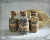 Tiny Toxins -  Glass Filled Vials Labeled - Belladonna, Hemlock, and Wolfsbane