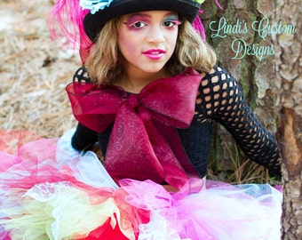 Whimsical Hatter Tutu Costume for Adults, Teens, Children Halloween, Pageant Costume, Boudoir, Plays, Theatre, OTT Child Costume