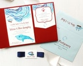 "Nautical Baby Boy Shower Invitations - Red Pocket, Navy Envelope Liner, Pale Aqua, Customizable - ""Lil Sailor Man"""