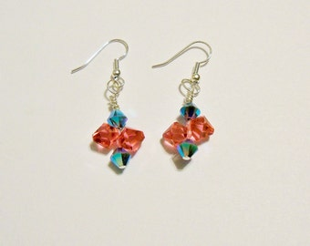 Handmade Earrings Swarovski Aqua Fuchsia Crystals Bridal Party Jewelry Wedding Jewellery Flower Girl Garden Beach Gift