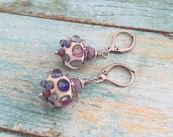 Purple Glass Lampwork Earrings - Violet  Earrings  - Nature Garden Inspired - Gift for here - Glass Earrings