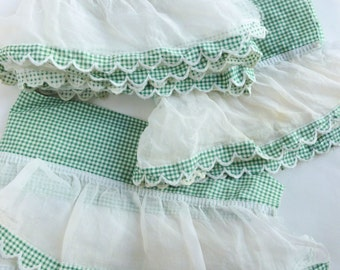 Scalloped Gingham and Sheer Ruffle Curtain Trim Lot Yardage Green and White