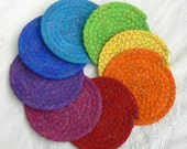 Drink Coasters, 8 Chakra Coasters, Small Coiled Coasters, Party Coasters, Clothesline Coasters,  Washable Coasters, Absorbent Coasters