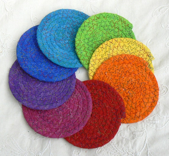Drink coasters 8 chakra coasters small coiled coasters - Drink coasters absorbent ...