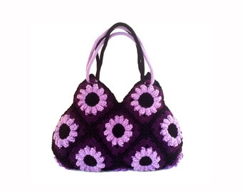 Purple flower crochet hand bag, crochet tote bag, shoulder bag, crochet purse