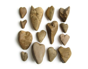 14 Natural Heart Rocks - River Love Rocks - Party Decoration - Valentines Day, Wedding, Engagement