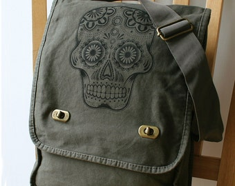 Day of the Dead Canvas Messenger Bag Laptop Bag for Men Bag for Women
