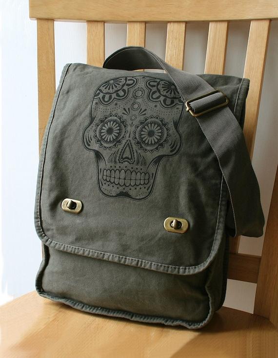 Day of the Dead Canvas Messenger Bag Laptop Bag for Men Bag for Women
