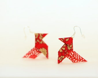 Red Liberty origami earrings, sterling silver french hooks - red & beige