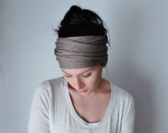 YOGA Head Scarf  - Oats and Barley Bohemian Hair Wrap - Light Brown Jersey Headband - Extra Wide Head Scarf - Boho Hair Accessories