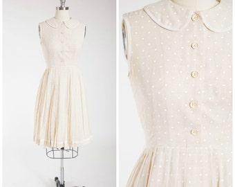Vintage 1960s Dress • Dream Lover • Cream Polka Dot 60s Day Dress by Carlye Size Medium