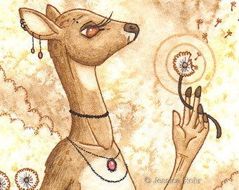 ACEO Fantasy Art Print- Wishes - Limited Edition Print - Fantasy Anthro Deer Art