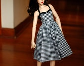 Delf/Feeple 60 Black And White Gingham Halter Dress For SD BJD - Free Shipping Black Friday Cyber Monday