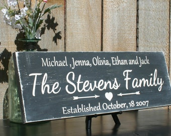 Rustic Family Name Sign Hand Painted Distressed Personalized Last Name Sign Shabby Chic Bridal Shower Gift Custom Rustic Sign