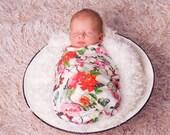 Organic Baby Blanket , Floral Swaddle Blanket  , Newborn Swaddle  Wrap , Flower Baby Blanket , Butterfly Baby Blanket , Baby Girl Gift