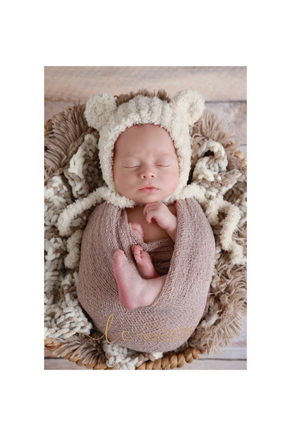 Baby Bear Hat with Ears for boys /girls, 3 colors, brown, blue, beige, soft textured fabric, newborns 0-3 M Lil Miss Sweet Pea