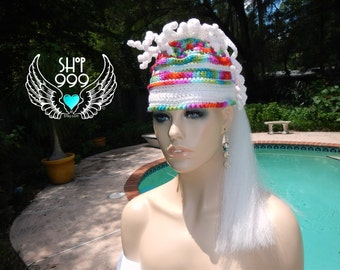 ANTENNA HEAD multi-colored synthetic hair pony tail hat featuring synthetic long white hair,
