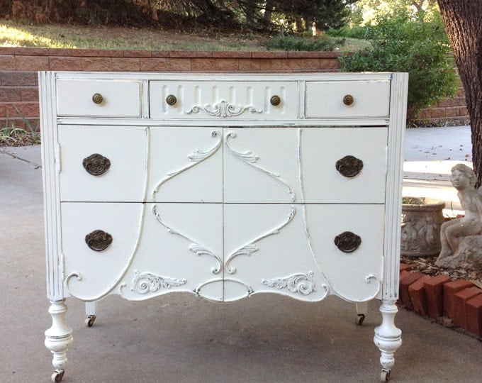 "Antique BATHROOM VANITY Dresser Custom Found & Converted To Your Specs - Painted Bath Dresser Shabby Chic Vanities - 48"" Wide"