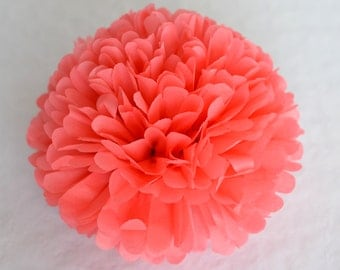Coral tissue paper Pom Poms - wedding party pompoms / wedding decorations /
