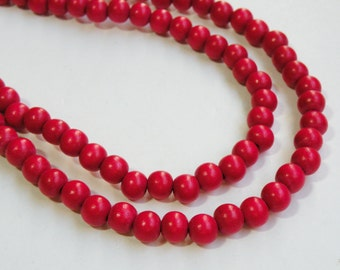Cherry Red wood beads round 8mm full strand eco-friendly Cheesewood 9463NB