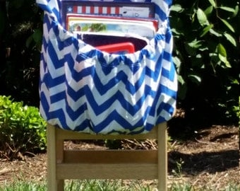 Cobalt Blue ChEvRoN //Chair Pockets // Teacher Classroom // Seat Sacks // Organization <<16 inch PREMIUM>> End of Year SALE CoffeeKidsNDolls