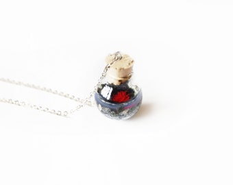 Sea Anemone Necklace - bottle necklace, miniature red sea anemone, beach, seaside, 2cm glass ball, 16 inch necklace chain, British Coast