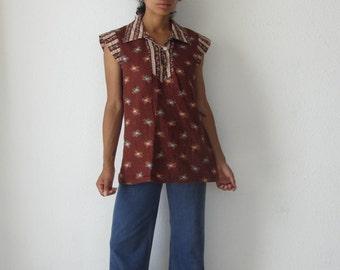 70s floral tunic top Vintage collard bohohemian top Fesitval blouse