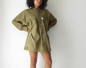 Womens button up shirt Vintage minimalist top