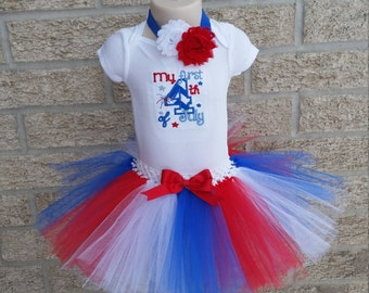 My First 4th of July Tutu Outfit - 4th of July Outfit - Baby Shirt with Headband and Tutu- Boutique Style