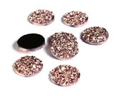 12mm Rose gold round resin cabochon - Faux druzy cabochon - Faux drusy cabochon - Metallic textured cabochon (1632)