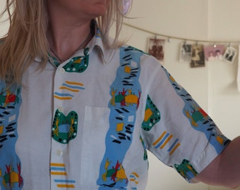 SALE! Crab Tribal Vintage Beach Shirt, Unisex Tropical Summer Bummin.