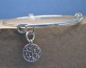 tree of life adjustable silver bangle charm bracelet,expandable bracelet,tree of life bangle bracelet, bracelet, tree expandable bracelet