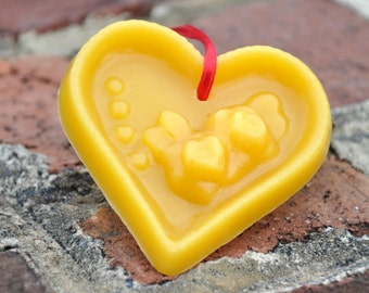 Beeswax heart ornament, natural beeswax smells wonderful