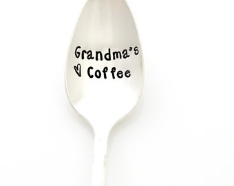 Grandma's Coffee Spoon. Stamped Spoon for Grandmother Gift. Mothers Day Kitchen Decor.
