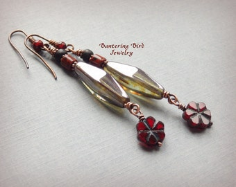 Extra Long Flower Earrings, Deep Red Czech Glass Dangle Earrings, Pine Green Bead Earrings, Boho Copper Jewelry