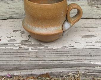 American Stoneware Mug, Studio Pottery, Wood Fired Mug, Small Vintage Mug, Green Crystal Inside, Stoneware Mug, Rustic Pottery, American