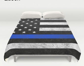 Thin Blue Line Comforter or  Duvet Cover - American Flag - Matching Pillows - Twin, Twin XL, Full, Queen, King
