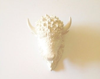 WHITE Small Faux Taxidermy Bison animal head wall hanging wall mount in white kids room decor office decor white wall decor / nursery / gift
