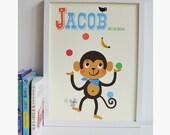 Personalised 'Juggling Monkey' Name Print, Letter m Print, Personalised Fun Print, New Baby Gift, Kids monkey Print,Nursery Art,circus print