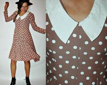 1970s MOCHA Brown Polka Dot Dress with Collar
