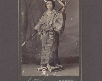 Japanese CDV of a Woman in a Beautiful Kimono