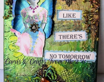 Mixed Media Canvas with Winged Victorian Lady, 3-D Butterfly Wings, Beautiful Green Metalic Inks, Metal Embellishments, Uplifting Message