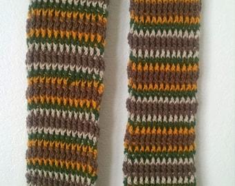 Crochet Scarf Autumn Stripe Ribbed