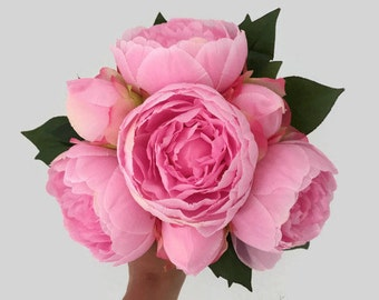 CHOOSE RIBBON COLOR - Peony Bouquet, Pink Peony Bouquet, Peony Bridesmaid Bouquet, Peony Bridal Bouquet, Flower Girl Bouquet, Toss Bouquet