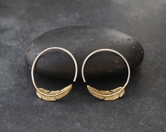 Feather Hoop Earrings - Brass  - tula hoop