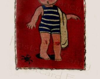 ART DECO Hand Drawn Girl at BEACH, Vintage Postcard Illustration, Instant Digital Download