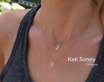 10k, 14K Solid Gold or Sterling Silver - Personalized Gothic Symbols Layered Necklace - Gothic  Necklace - Yellow, Rose or White Gold