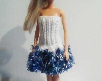 Blue and WhiteFuzzy Party Dress for Barbie