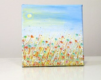 Small acrylic canvas art Flower canvas art - small painting on canvas painting - wall decor - landscape painting - landscape canvas